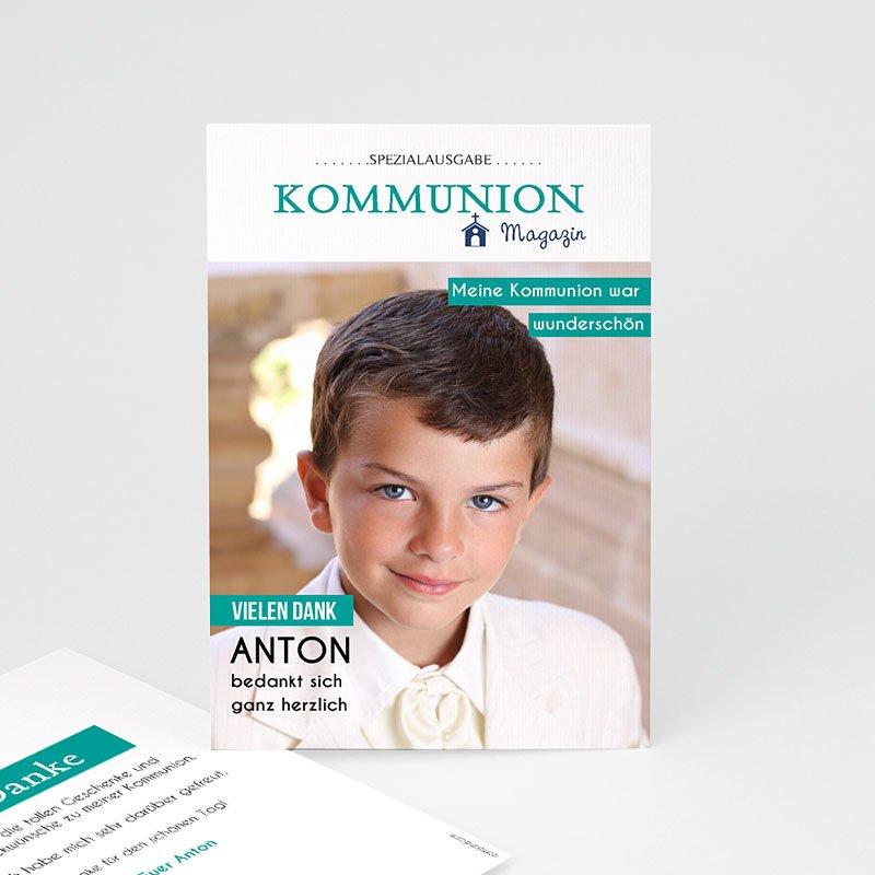 Dankeskarten Kommunion Jungen - Schlagzeilen 45879 thumb