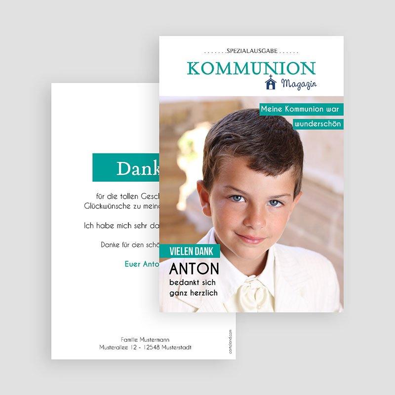 Dankeskarten Kommunion Jungen - Schlagzeilen 45881 thumb