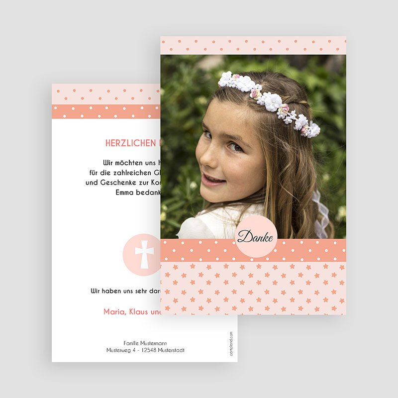 Dankeskarten Kommunion Mädchen Phantasievoll gratuit