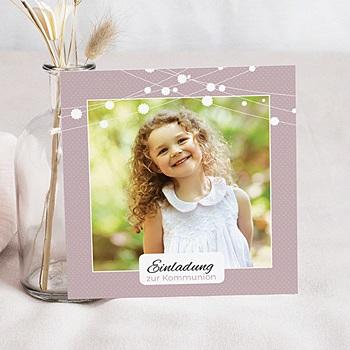Einladungskarten Kommunion Mädchen Festlich geschmückt