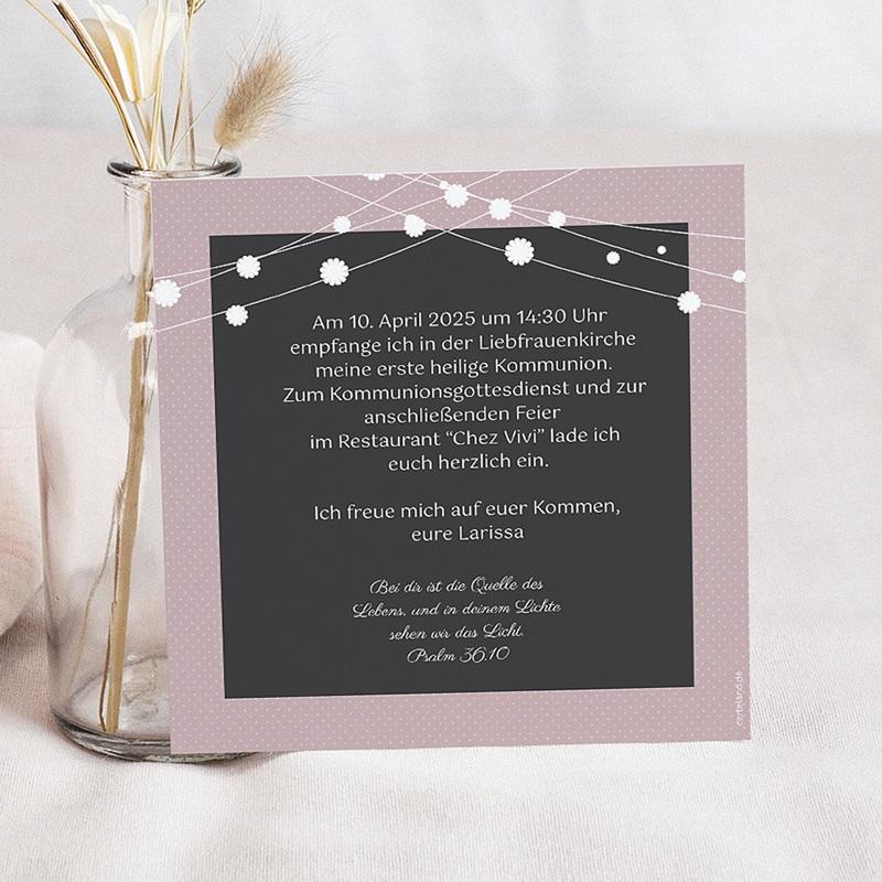 Einladungskarten Kommunion fur Mädchen Festlich geschmückt pas cher