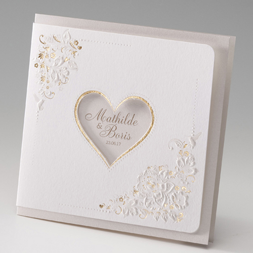 Hochzeitseinladungen traditionell - Herz und Spitze 45975