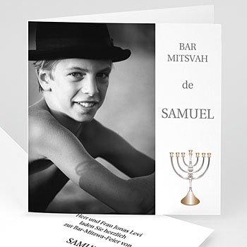 Bar Mitzwah Einladung - Fotokarte mit Menorah - 1
