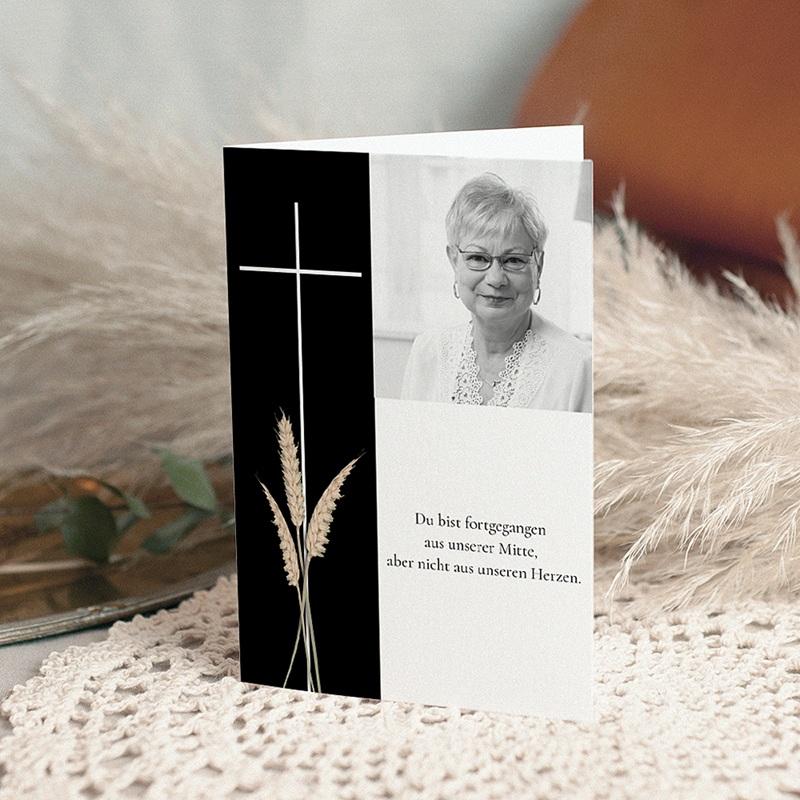 Christlich Dankeskarten Trauer Kreuz in schwarz