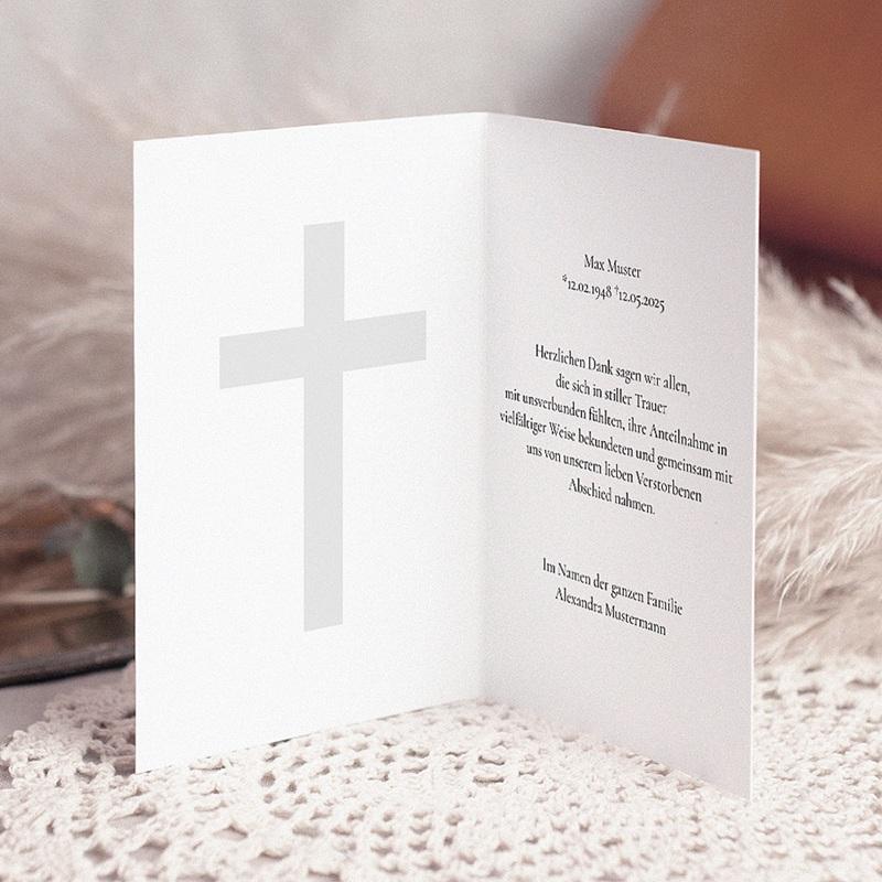 Christlich Dankeskarten Trauer Kreuz in schwarz pas cher