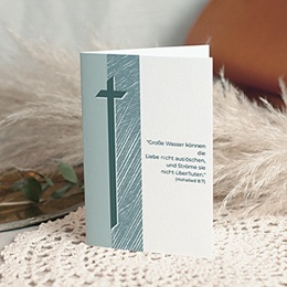 Karten Décès Chrétien Kreuz grau-blau