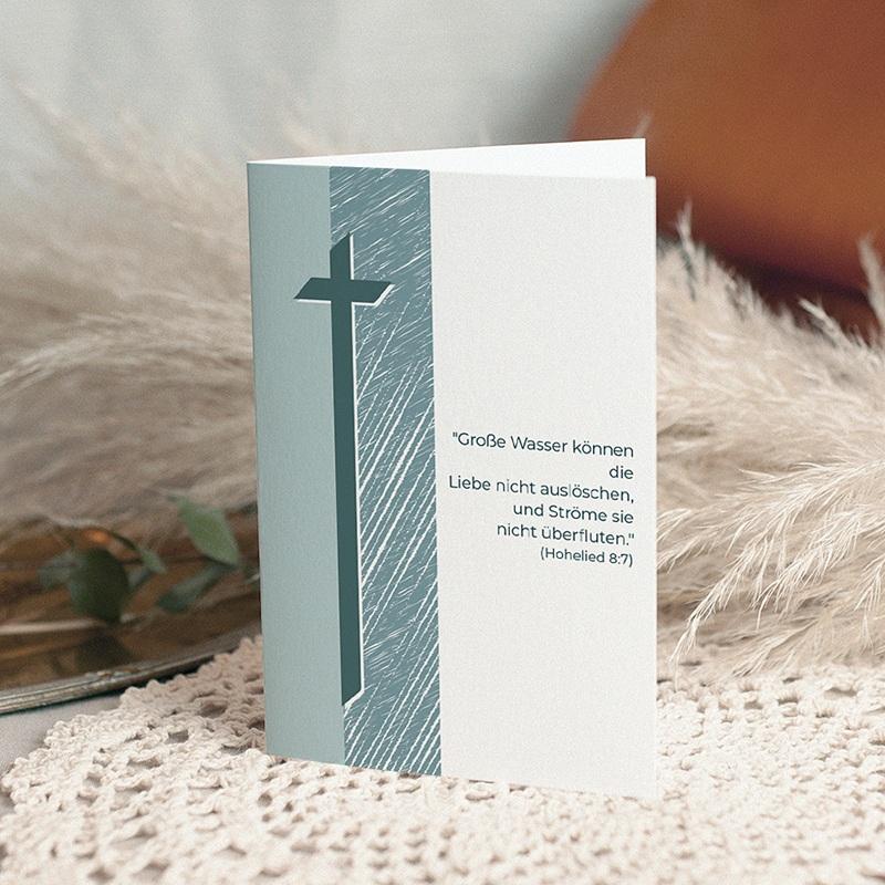 Christlich Dankeskarten Trauer Kreuz grau-blau