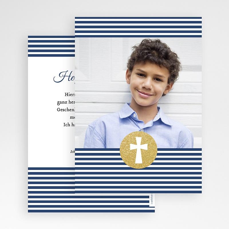 Danksagungskarten Konfirmation - Kreuz gestreift 46544 thumb