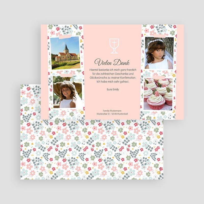 Dankeskarten Kommunion Mädchen - Liberty Romantik 46589 thumb