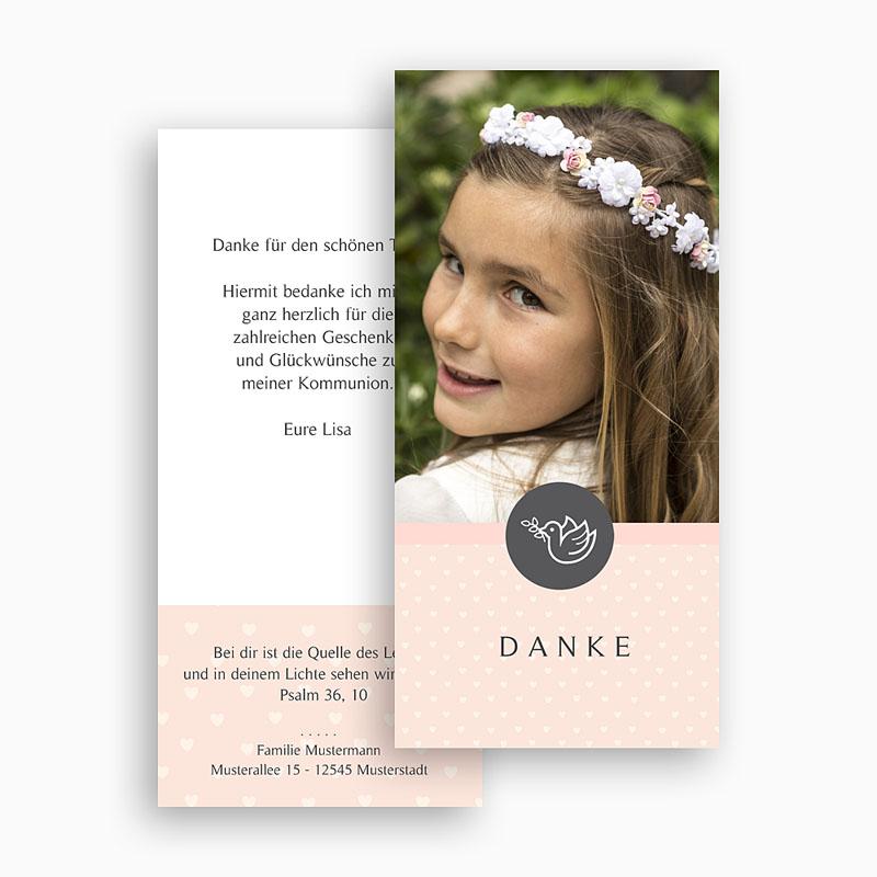 Dankeskarten Kommunion Mädchen - Kleine Taube 46598 thumb