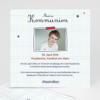 Einladungskarten Kommunion Jungen - Karos - 0