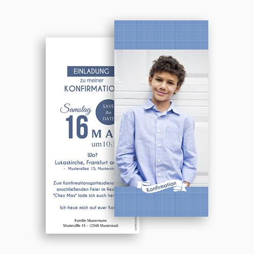Einladungskarten Konfirmation - Pastellblau 46679 test