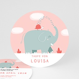 Einladungskarten Taufe Mädchen - Taufe Elefant - 0