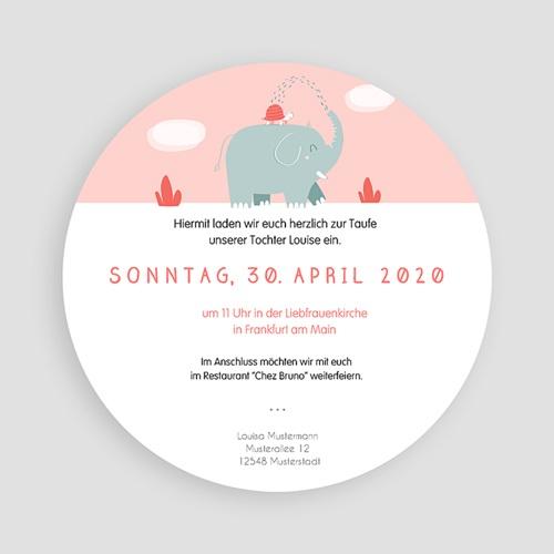 Einladungskarten Taufe Mädchen - Taufe Elefant 46916 preview