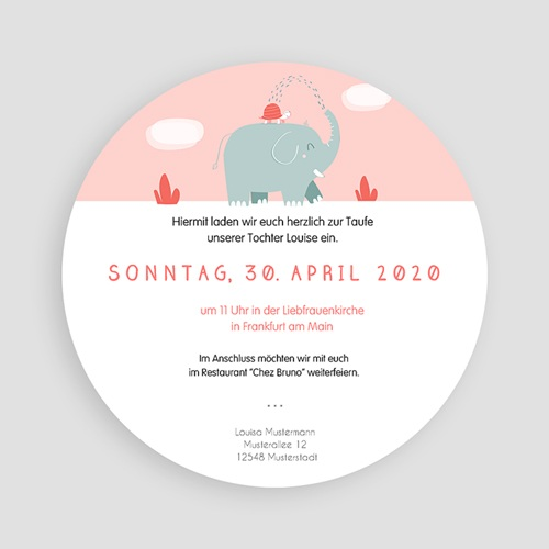 Einladungskarten Taufe Mädchen - Taufe Elefant 46916 thumb