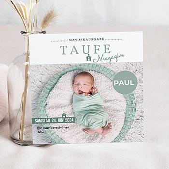 Einladungskarten Taufe Jungen  - Zeitschriften-Stil - 0