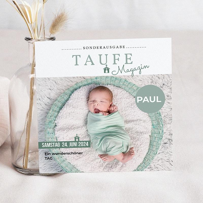 einladungskarten taufe jungen - zeitschriften-stil | carteland.de, Einladungsentwurf