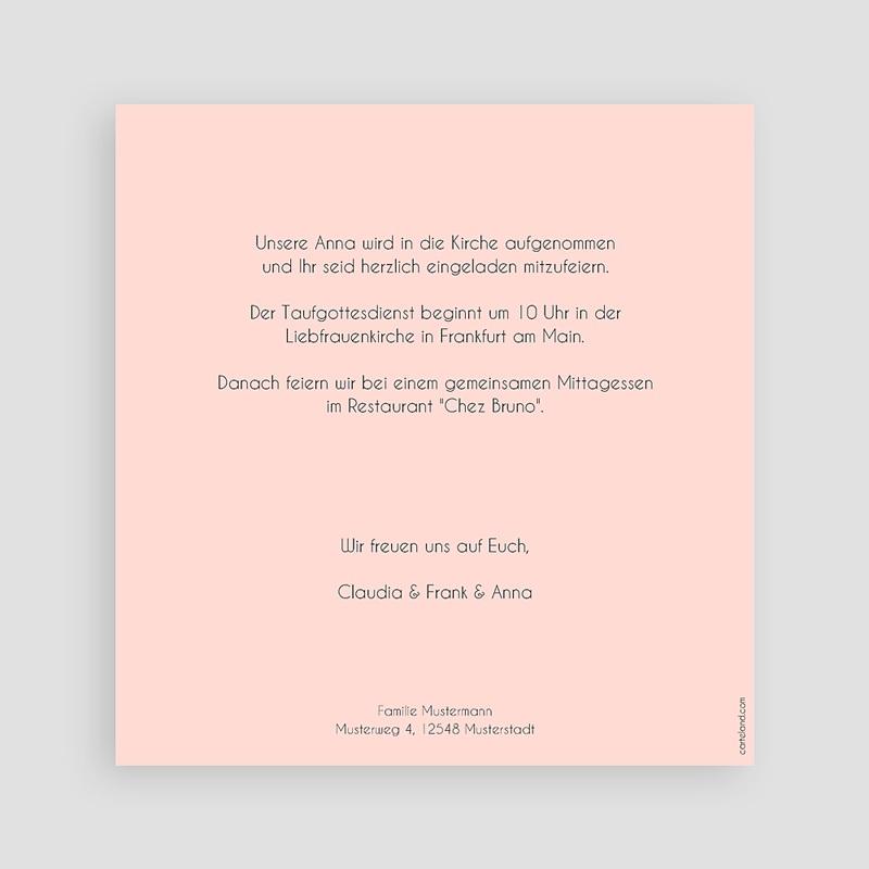Einladungskarten Taufe Mädchen Pink und Pastell pas cher