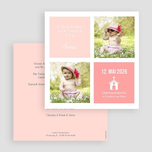 Einladungskarten Taufe Mädchen Pink und Pastell gratuit