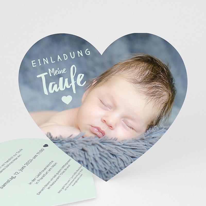 Einladungskarten Taufe für Jungen Herzchentaufe