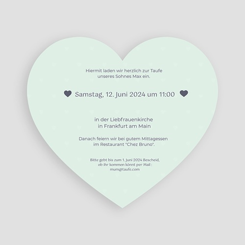 Einladungskarten Taufe Jungen  - Herzchentaufe 47010 thumb