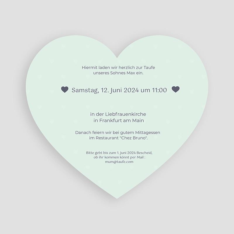 Einladungskarten Taufe für Jungen Herzchentaufe pas cher