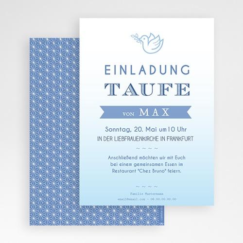 Einladungskarten Taufe Jungen  - Blaues Aquarell 47044 preview