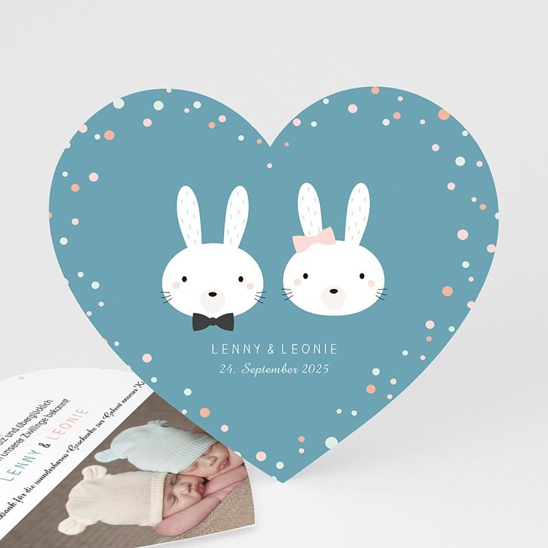 Geburtskarten mit Kaninchen Doppeltes Glück