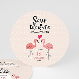 Save the date Hochzeit Flamingos