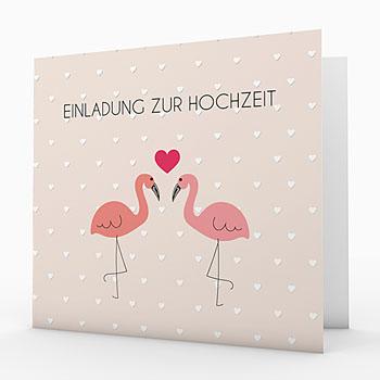 Einladungskarten Hochzeit  - Rosaflamingo - 0