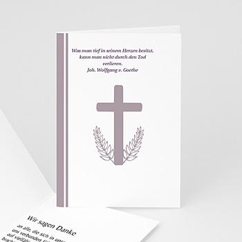 Trauer Danksagung christlich Klappkarte Kreuz - grau