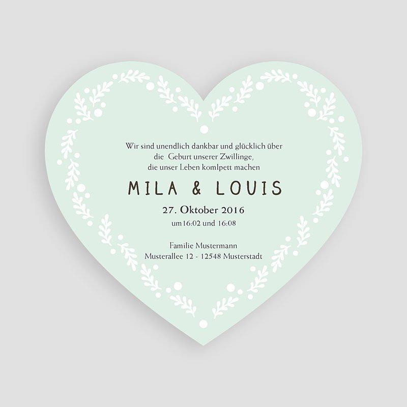 Geburtskarten für Zwillinge Doppeltes Herz pas cher