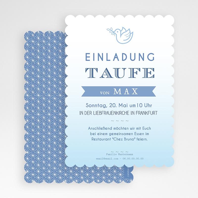 Einladungskarten Taufe für Jungen Aquarell Blau gratuit