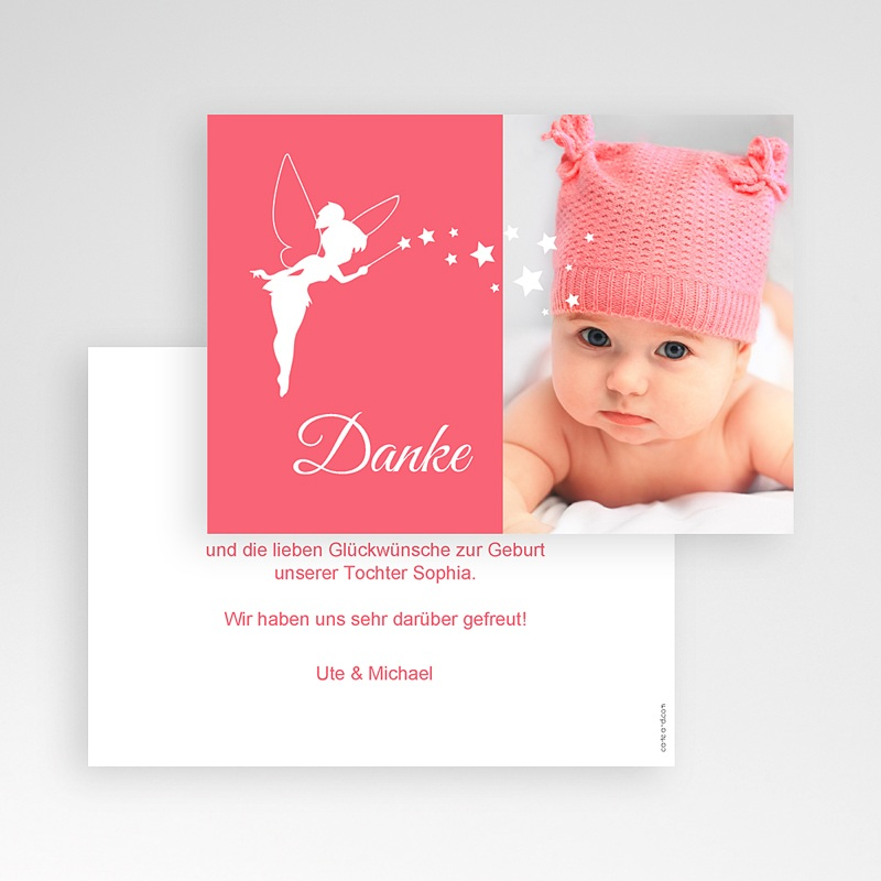 Dankeskarten Geburt für Mädchen Kleine Fee pas cher