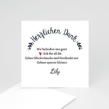 Dankeskarten Geburt Mädchen - Red Flowers - 0
