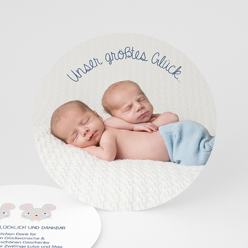 Dankeskarten Geburt Zwillinge - Zwillingsmäuse 48248