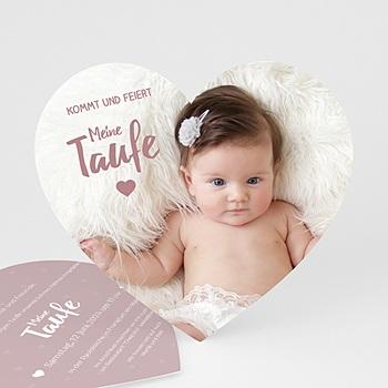 Einladungskarten Taufe Mädchen   Unser Herzchen   0