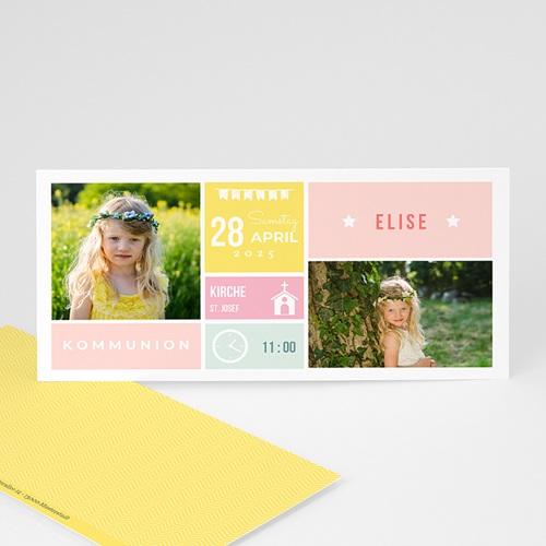 Einladungskarten Kommunion Mädchen - Pastell 48362