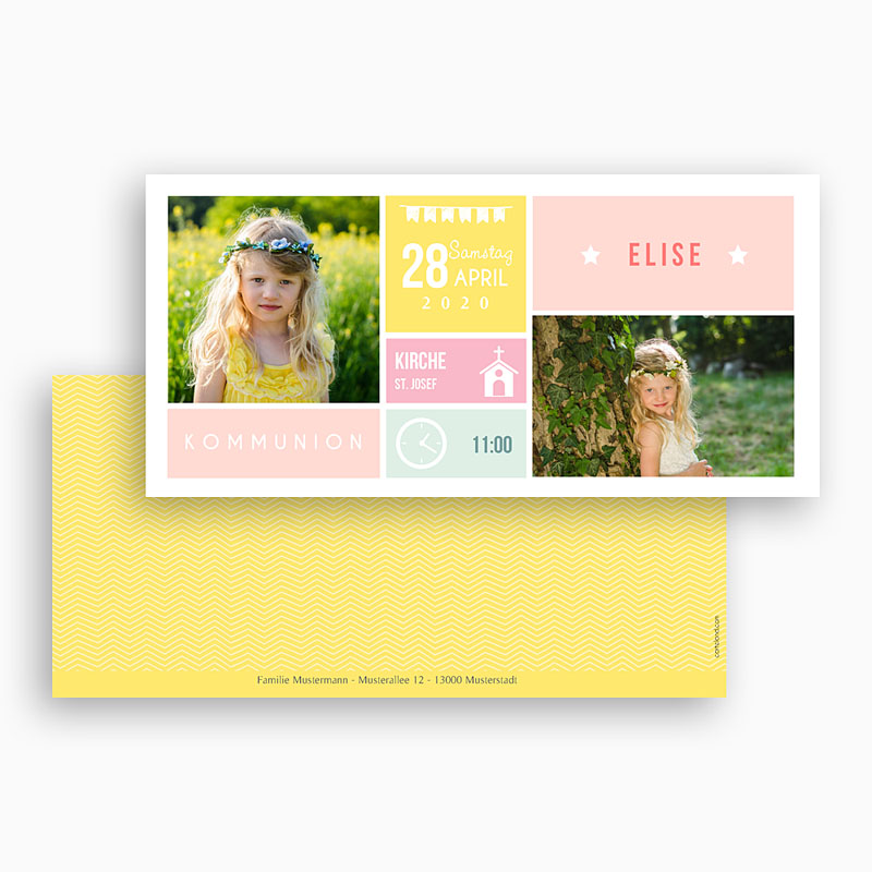 Einladungskarten Kommunion Mädchen - Pastell 48364 thumb