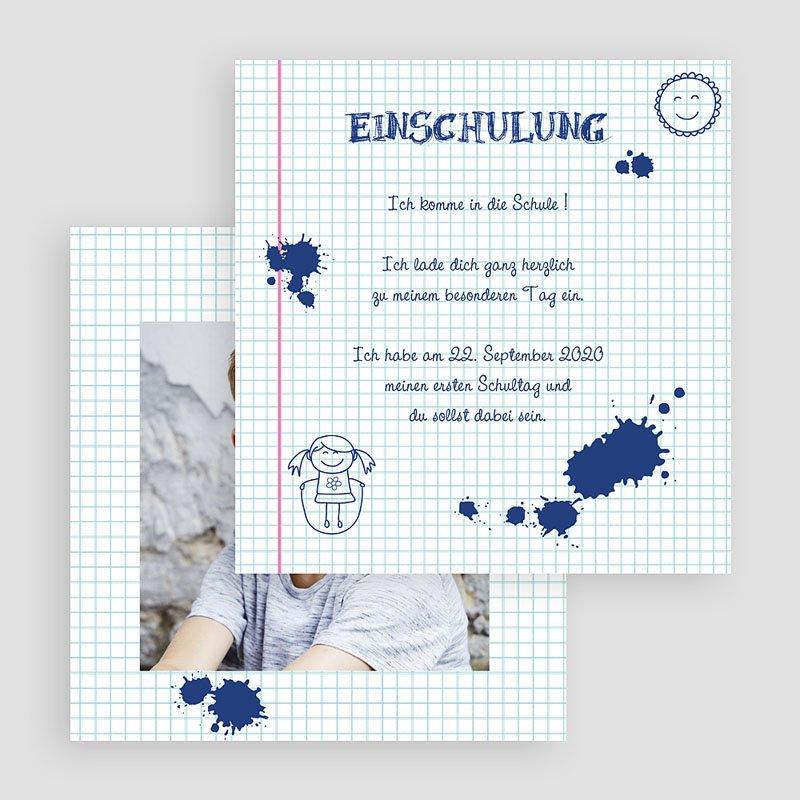 Einladungskarten Einschulung Tintenklecks gratuit