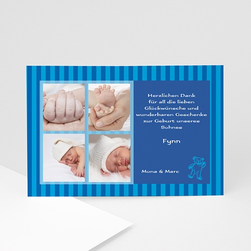 Dankeskarten Geburt Jungen - Teddybär 4886