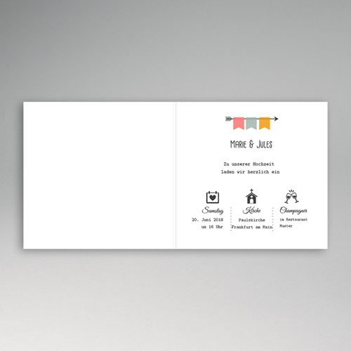 Einladungskarten Hochzeit  - Pfeile 49062 test