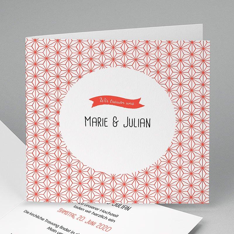 Hochzeitseinladungen Rot-Weiss Motiv Origami