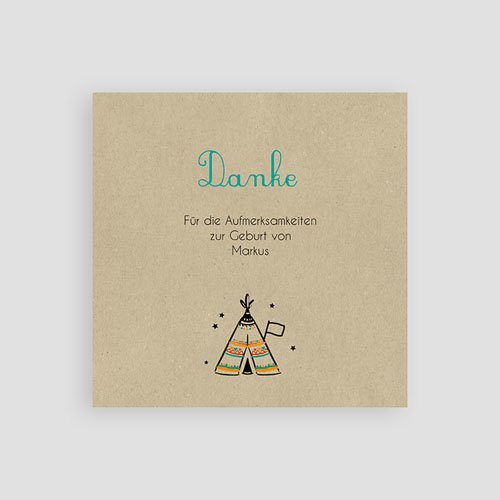 Dankeskarten Geburt originell - Indianerzelt 49398 preview