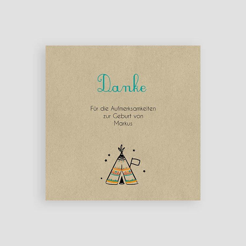 Originelle Dankeskarten Geburt Indianerzelt pas cher