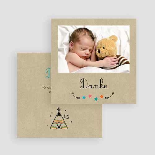 Dankeskarten Geburt originell - Indianerzelt 49399 preview