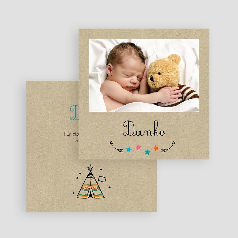 Originelle Dankeskarten Geburt Indianerzelt gratuit