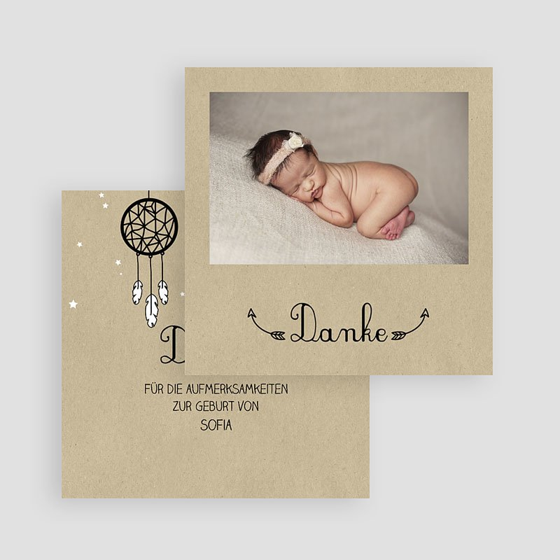 Dankeskarten Geburt Mädchen Geborgenheit gratuit