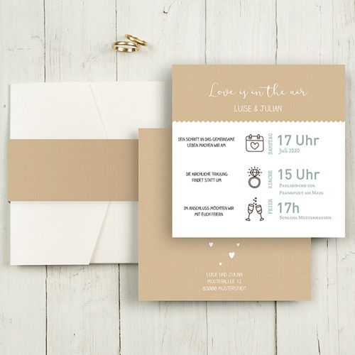 Hochzeitskarten Quadratisch - Natur 49593 test