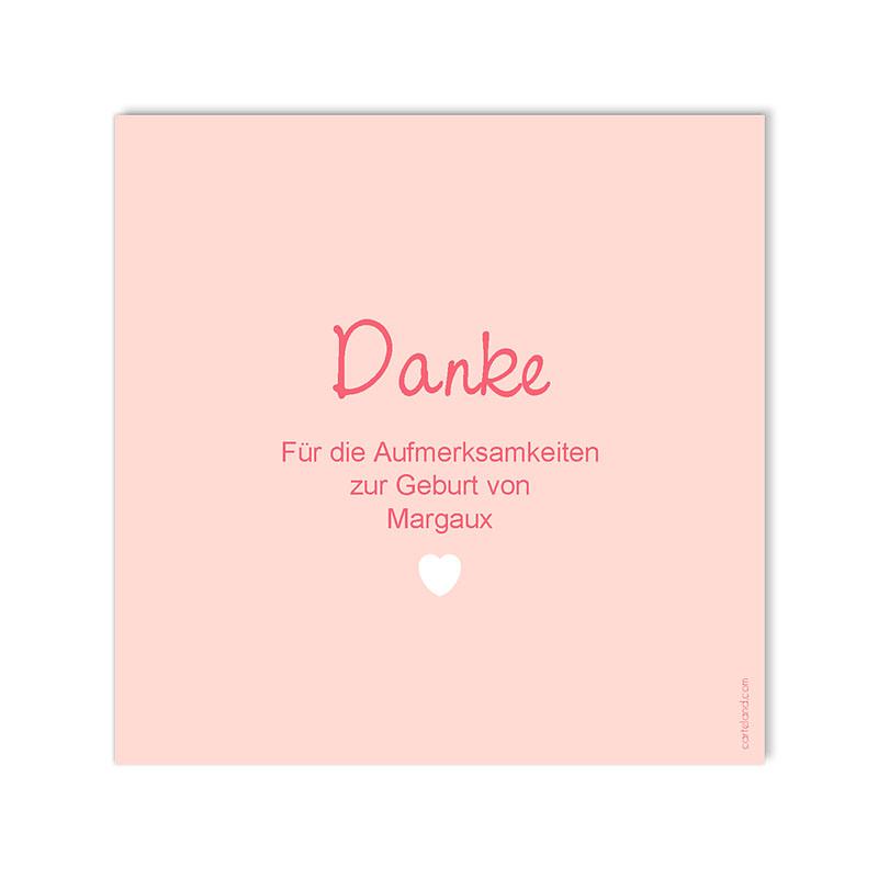 Dankeskarten Geburt für Mädchen Made with Love gratuit